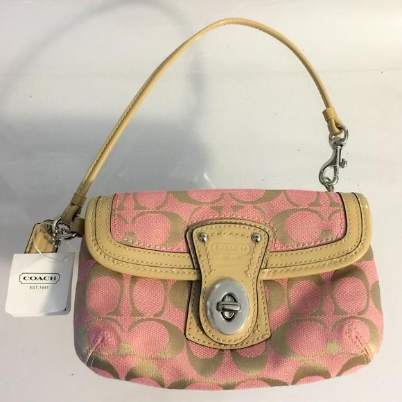 c1b458732b0 Coach Bags   Pink And Tan Logo Clutch Wristlet Small   Poshmark